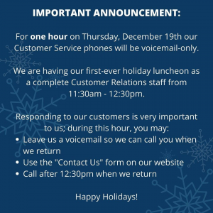 Customer Service Holiday Closure