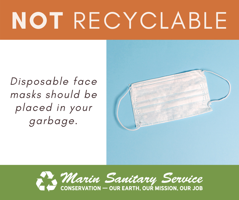 PPE Disposable Masks Go In Garbage NOT RECYCLING